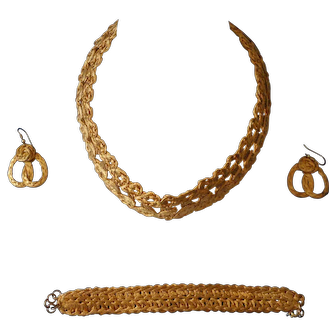Gorgeous Vintage Hand Crafted Artisan Gold plated on copper Necklace, Bracelet & Pierced Earrings set