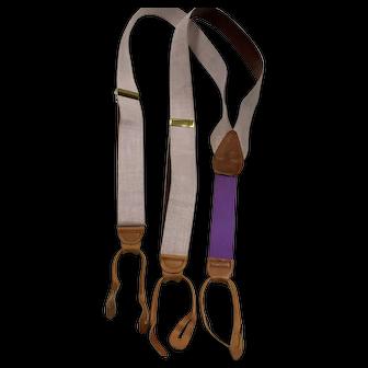 Polo Ralph Lauren Suspenders Leather Braces Brass