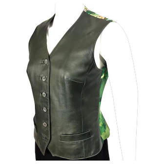 HERMES Leather and Silk Vest Green Concerto by Clerc