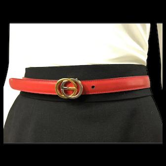 GUCCI Vintage Women's Leather Thin Skinny Belt w/Interlocking G