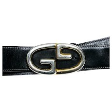 GUCCI Vintage Unisex Leather  Belt w/Interlocking G