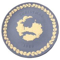"1969 WEDGWOOD Christmas Collectors Plate 8"" diameter -  Jasperware with Box"