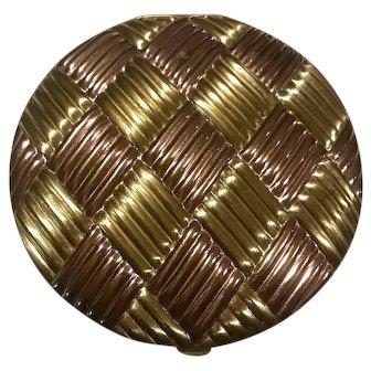 """Evans Rose Goldtone/Goldtone Basket weave 5"""" Compact"""