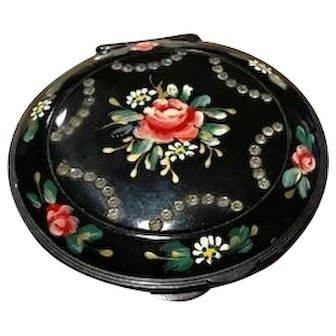 """Vintage Mavco 4"""" Round Hand Painted Compact with Rhinestones"""