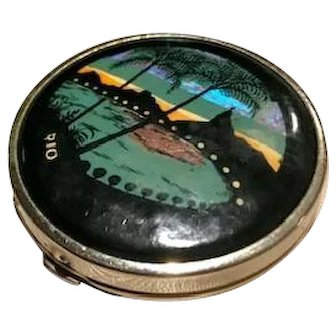 """Vintage 1930's Butterfly Wing Souvenir Compact """"Rio"""" by RION Brazil"""