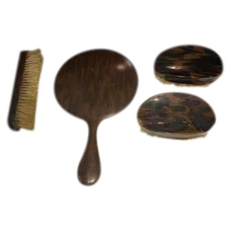 Made in England Faux Tortoise Mirror & Brush Set