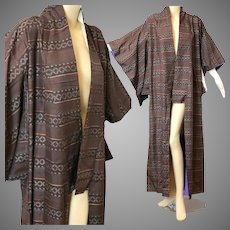 Vintage 20s 30s brown silk kimono robe