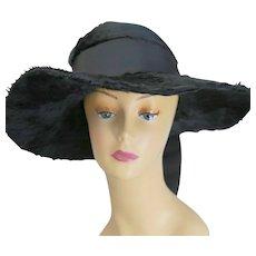 Antique Edwardian black long mohair fur hat wide brim