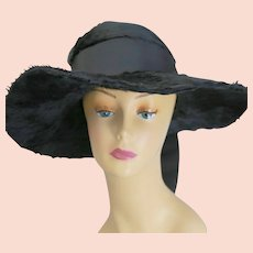 Antique Edwardian black long mohair fur hat wide brim