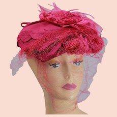 Vintage 40s glam hot pink tilt top hat with face net