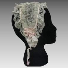 Antique Victorian Civil War era lace net cap headdress with silk ribbons