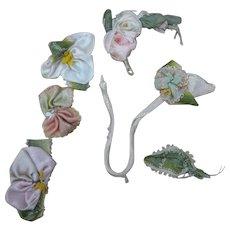 Antique Victorian ribbon work silk ribbon rose 5 pc lot stems flowers leaves