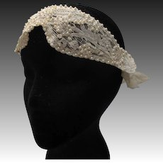 Vintage 20s 1920s Brussels lace Beaded Bridal headpiece