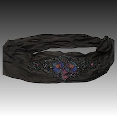 Vintage 20s 1920s art deco Flapper dress sash Silk beaded floral