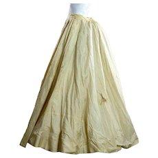 Antique Victorian 1880s silk bustle skirt wedding bridal cream white