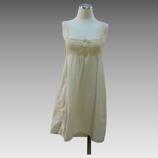 Vintage 1920s step in chemise cream cotton w crochet lace top