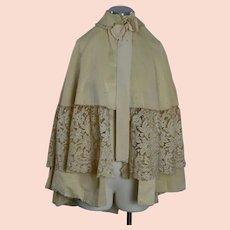 Antique Victorian Civil War era cape ivory silk with lace trim