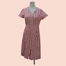 Vintage 30s red striped house dress frock button up