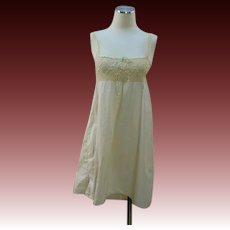 Vintage 20s step in chemise cream cotton w crochet lace yoke top