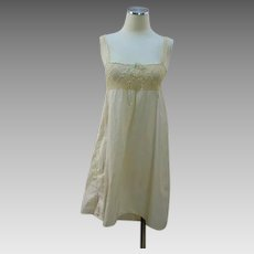 Vintage 20s step in chemise cream cotton w crochet lace yoke top
