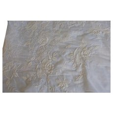 Antique Victorian 1890s cotton lawn elaborate embroidered tea gown fabric 5 yd