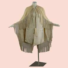 Antique Victorian Civil war era cape with quilted lining hand knotted fringe trim