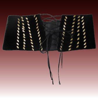 Vintage 40s 1940s black velvet lace up cummerbund waist cincher belt