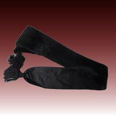 Antique Victorian Civil War Era black velvet sash with tassel trim