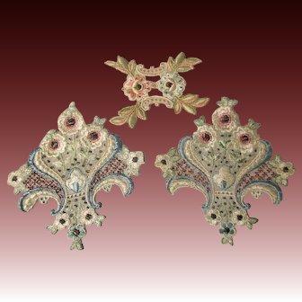 Antique 19C Victorian appliqués set of 3 pieces