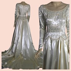 Vintage 40s hollywood glam beaded ivory liquid satin bridal wedding gown