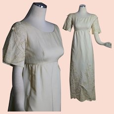 Vintage 60s wedding dress ivory silk w beaded lace retro bridal dress S Small