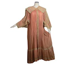 Antique Victorian C 1905 elaborate pleated wool and lace dressing gown