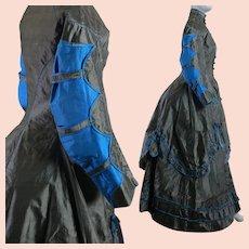 Antique Victorian 1869 polonaise bustle dress early metallic silk
