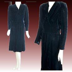 Vintage 40s black silk velvet cocktail party dress