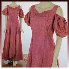 Vintage 40s mauve pink open shoulder evening dress