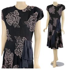 Vintage 40s floral party dress black pink abstract taffeta bow trim