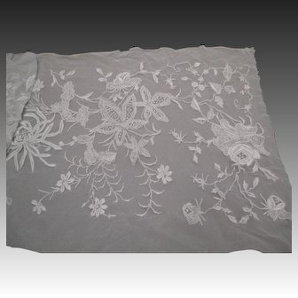 Antique Victorian embroidered net panel