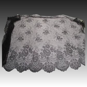 Antique Victorian black Chantilly Lace Flounce  34 inch Wide