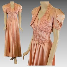 Vintage 40s satin nightgown matching bed jacket w trapunto embroidery