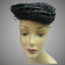 Vintage 1950s straw net hat