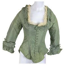 Antique Victorian bodice 1880s fancy green silk