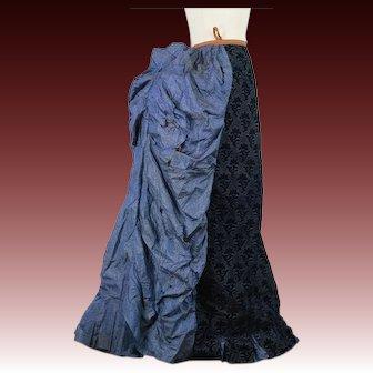 Antique Victorian 1880s bustle dress skirt