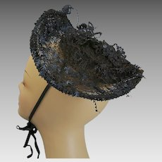 Antique Victorian bonnet 1889 net and jet beading on metal frame