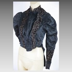 Antique Victorian 1890s bodice w burnout velvet fancy tails
