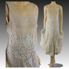 Vintage 20s Italian gros point mixed lace wedding dress