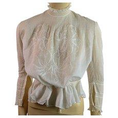 Antique Edwardian embroidered waist blouse