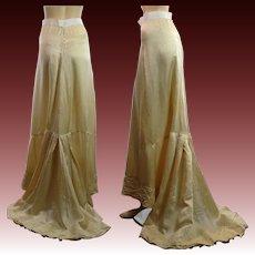 Antique Victorian silk trained bridal skirt