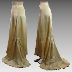 Antique Victorian silk trained bridal skirt