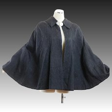 Vintage 40s black quilted evening cape caplet