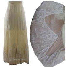 "Antique Victorian silk skirt brussels lace applique on net flounce 150"" X 20"""